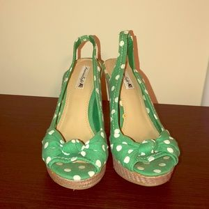 Green Polka Dot Wedges